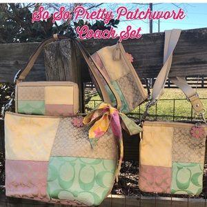 Coach Patchwork Pastel  Multicolored Bag Set
